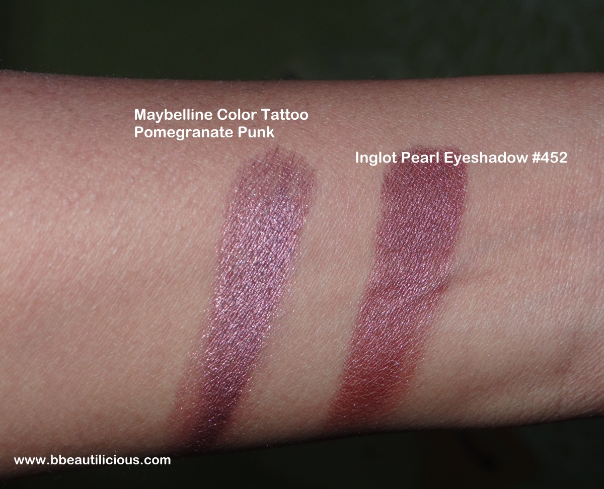 Inglot Freedom System Eyeshadow Pearl 452 dupe comparison