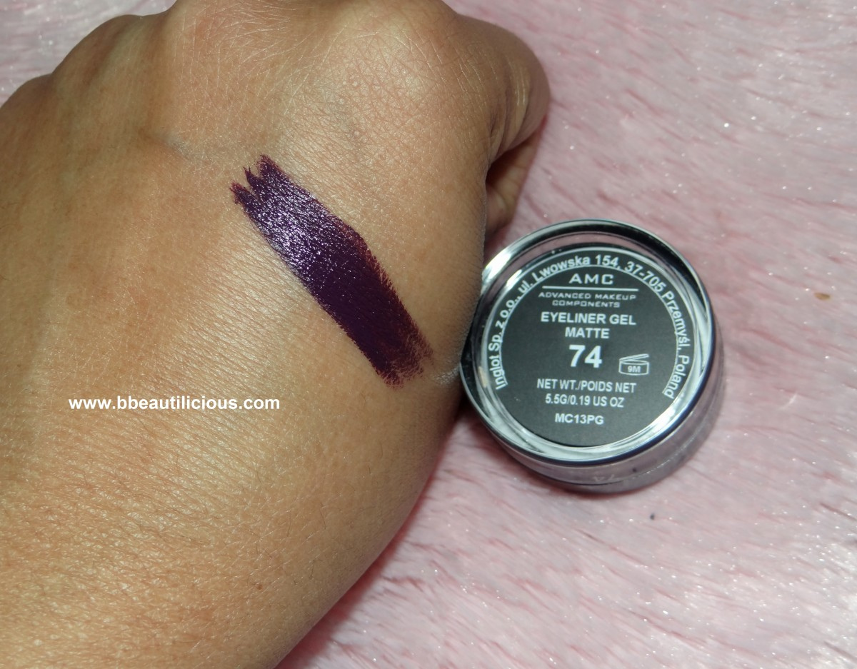 Inglot AMC Eyeliner Gel 74 reviews and swatch