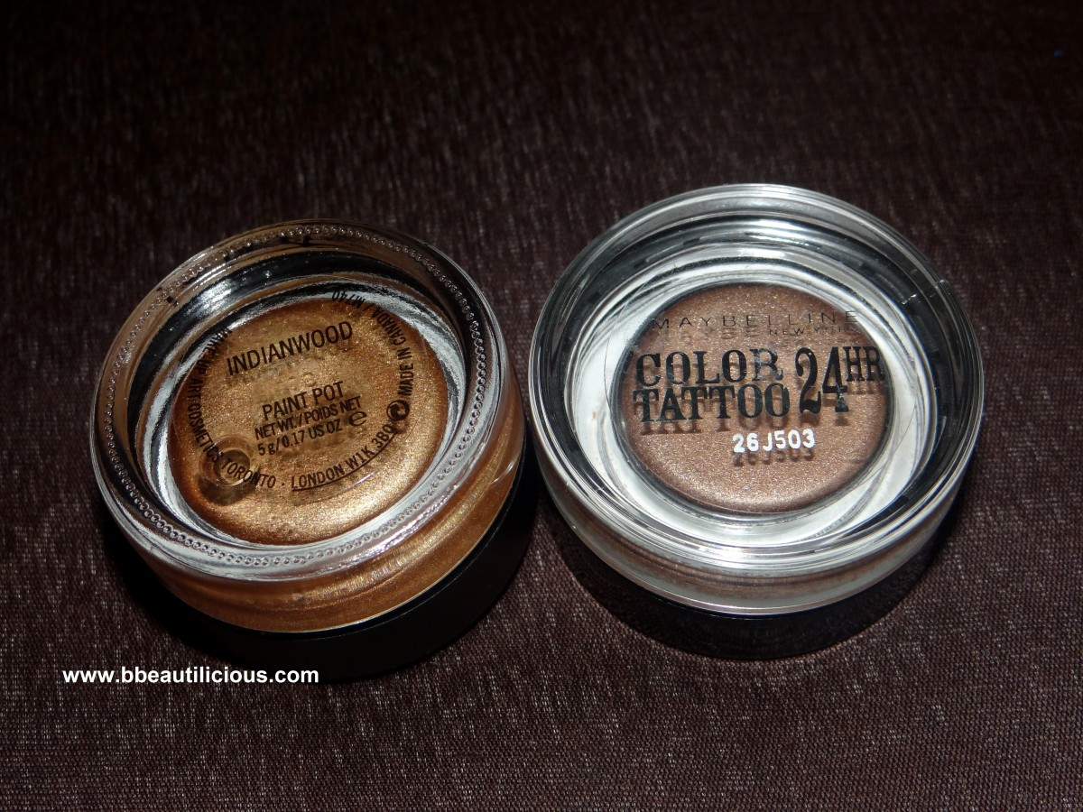 MAC Paintpot indianwood vs maybelline color tattoo