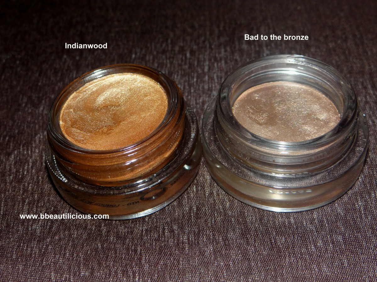MAC Paintpot indianwood vs maybelline color tattoo swatches