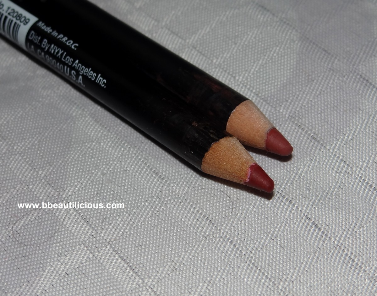 Nyx Lip pencil cabaret and coffee swatches