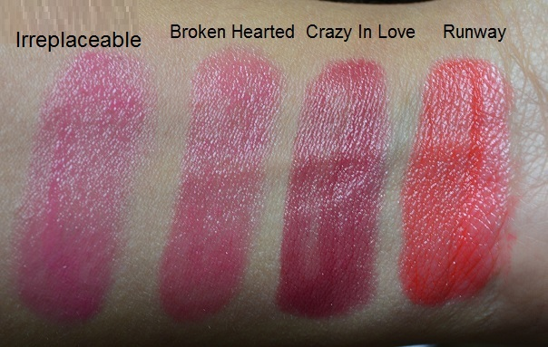 MUA Power Pout Review and Swatches - Run Way,Crazy InLove, Irreplaceable and Broken Hearted (7)