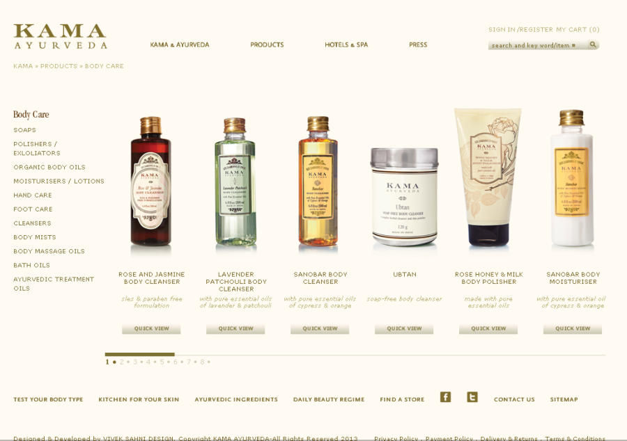 Body care products by Kama Ayurveda