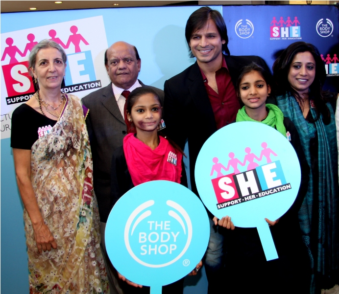 Co -founder FFLV Nikuja Vasini, Padmshree Surender Sharma,  Actor Vivek Oberoi, , and COO The Body Shop Shriti Malhotra at The Body Shop Event Campaign SHE- Support her education