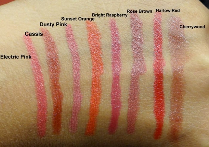 bobbi brown art stick cassis, electric pink, dusty rose, sunset orange, harlow red, cherrywood swatches india (1)