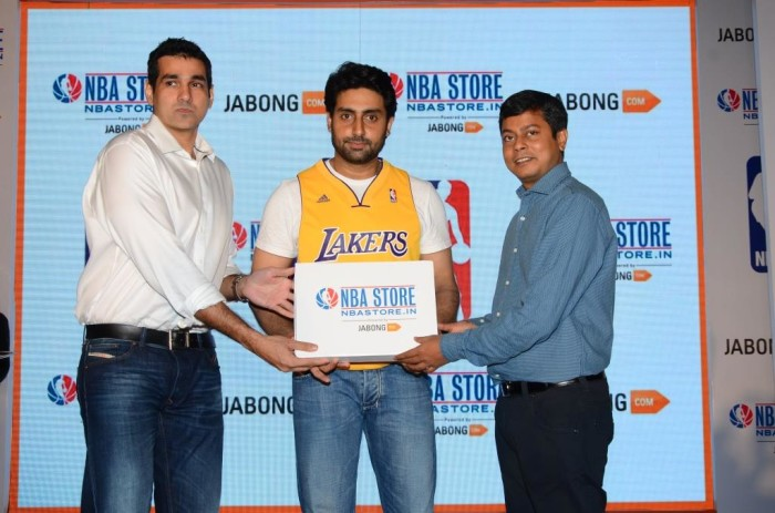 L-R Yannick Colaco, Managing Director, NBA India, Abhishek Bachchan, Praveen Sinha, Co -Founder, Jabong.com at the launch of NBA online store exclusively on Jabong.com