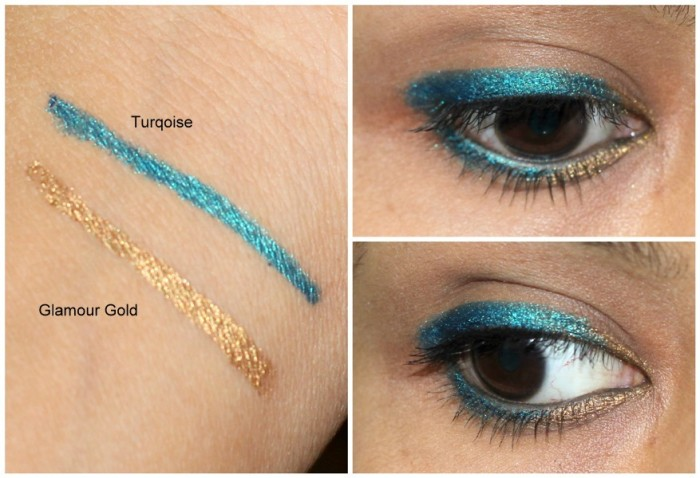 L'Oreal Superliner Gelmatic Eyeliner Glamour Gold, Turqoise review swatches (1)