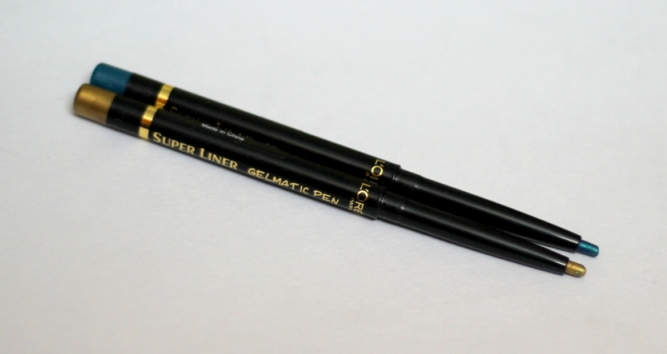 L'Oreal Superliner Gelmatic Eyeliner Glamour Gold, Turqoise review swatches (3)
