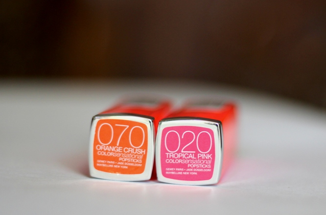 Maybelline Orange Crush, Tropical Pink Popstick Review swatches photos (1)