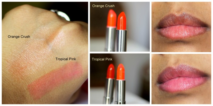 Maybelline Orange Crush, Tropical Pink Popstick Review swatches photos (2)