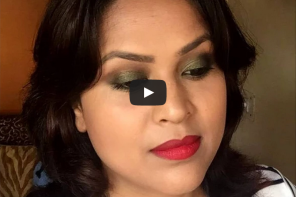 Olive Green Eyes With Red Lips – Indian Party Makeup Look