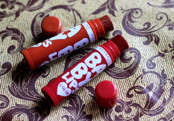 Maybelline Spiced Up Baby Lips Lip Balm Review Swatches Photos - Spicy Cinnamon, Berry Sherbet  (3)