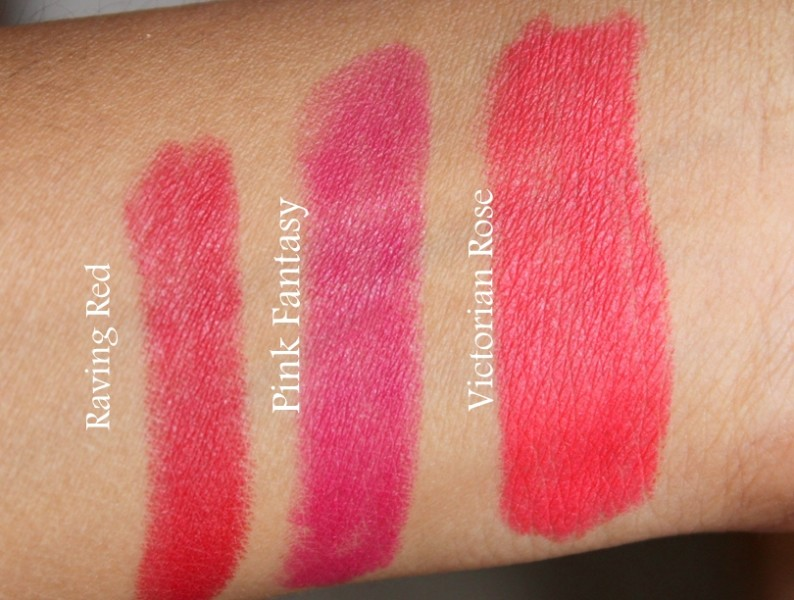Lakme Absolute Lip Pout Matte Lip Tint Review Swatches Photos, Victorian Rose, Raving Red, Pink Fantasy (1)