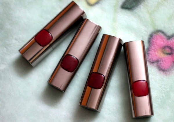 L'Oreal Moist Matte Lipstick Black Cherry, Flaming Kiss , Blaze Of Red review swatches photos (2)