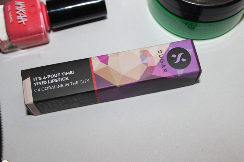 Sugar Its A Pout Time Vivid Lipstick Coraline In The City 04 Review Swatches Photos Price (7)