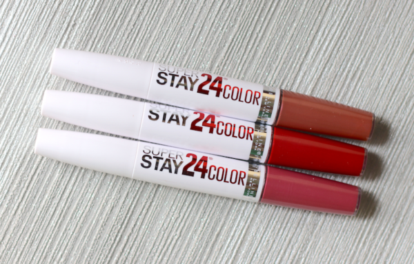 Maybelline Super Stay 24 Color - Wont Move Mauve 060, Keep It Red 035, Very Cranberry 100 Review Swatches Photos