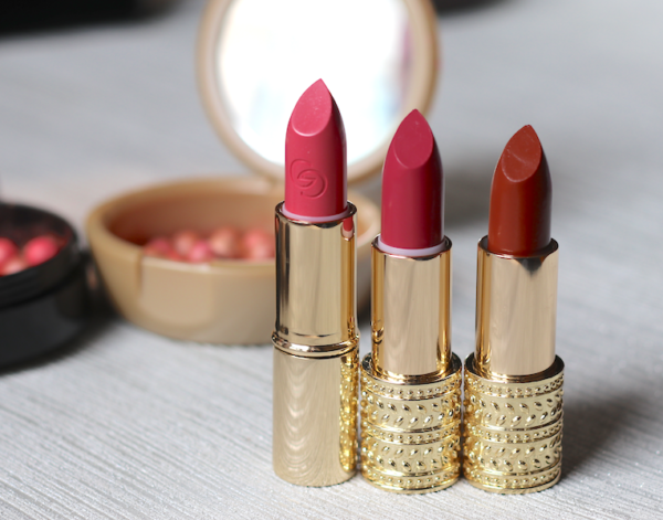 Oriflame Giordani Gold Jewel Lipstick - Cerise Pink, Honey Chestnut, Rose Petal Review swatches photos