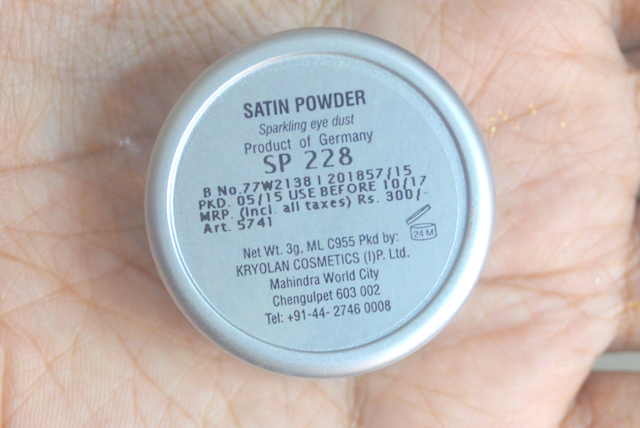 Kryolan Satin Powder SP228 Review Swatches Photos Price