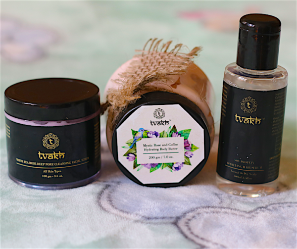 Tvakh Soy Protein Hair Serum, Mystic Rose & Coffee Body Butter & White Tea Rose Scrub