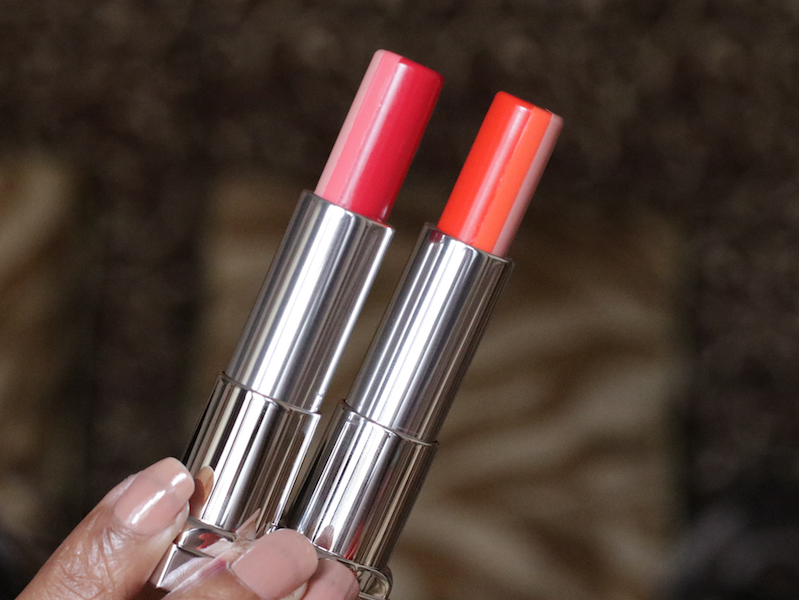 Maybelline Raspberry Smoothie, Sunset Sorbet Lip Flush Just Bitten Lipstick Review Swatches Photos