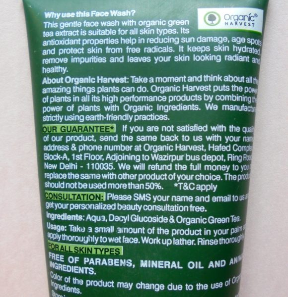 Organic Harvest Fresh & Glow Face Wash Review Swatches Photos