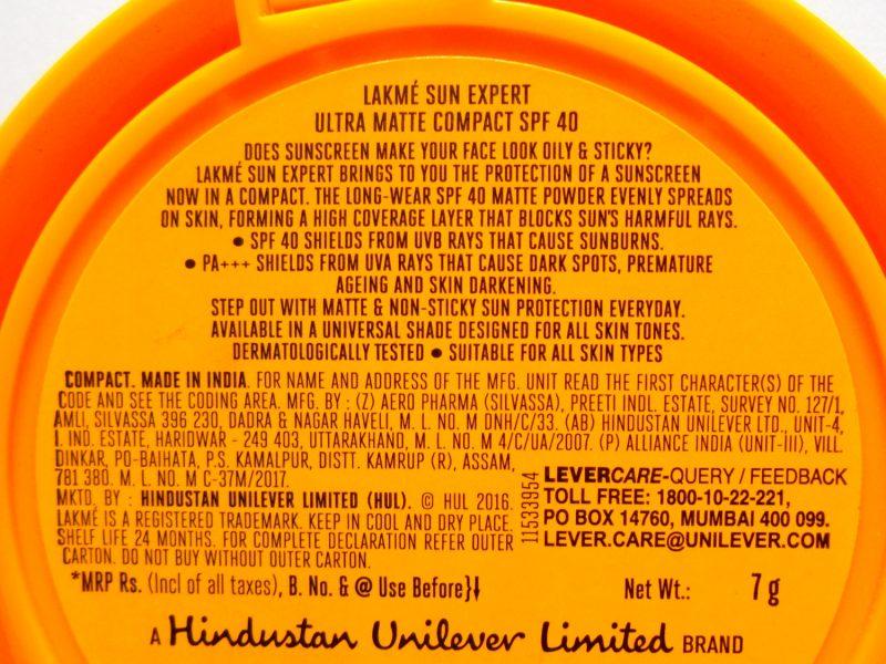 Lakme Sun Expert Ultra Matte Compact SPF 40 PA +++ comentárioBe Beautilicious 2